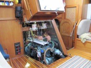 Engine access all around with removable floor board